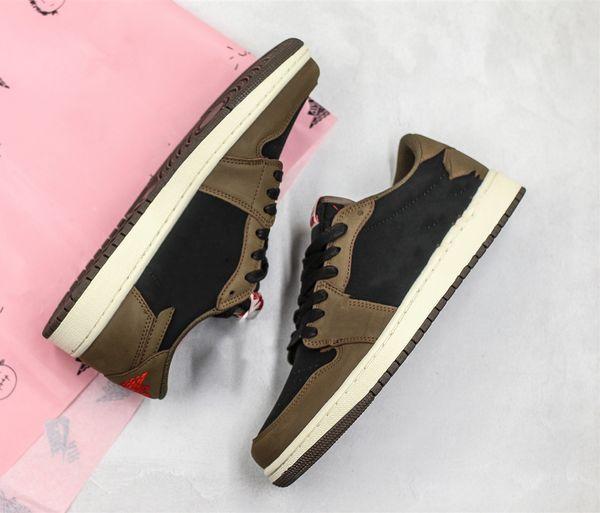 2019 Newest Travis Scott 1 Low OG SP Dark Mocha Cactus Jack Men Running Shoes Brown Suede Black Sports Sneakers