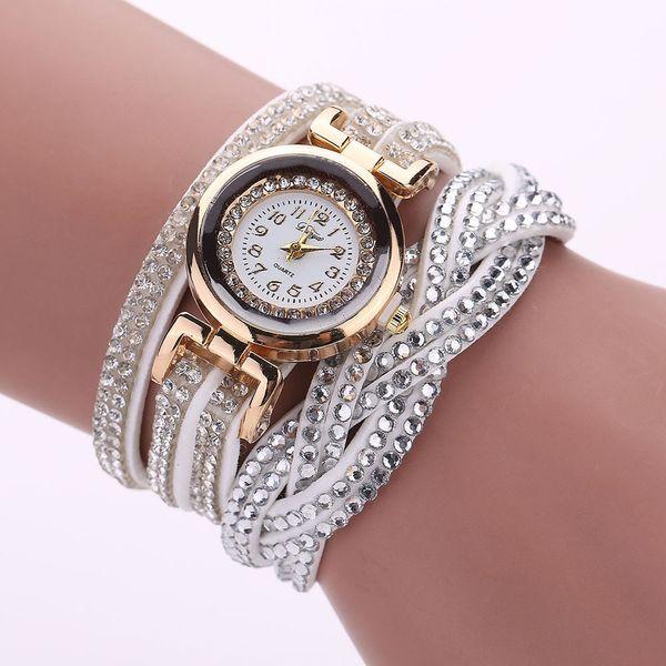 Hochwertige Schöne Frauen Luxus Kristall Frauen Gold Armband Quarz Armbanduhr Strass Uhren Armbanduhr Für