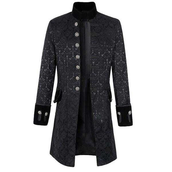 Großhandel Adisputent Vintage Langarm Herren Blazer Jacke Mode Plus Größe Gothic Brokat Gehrock Samt Trim Steampunk Männer Kleidung Von Splendid99,