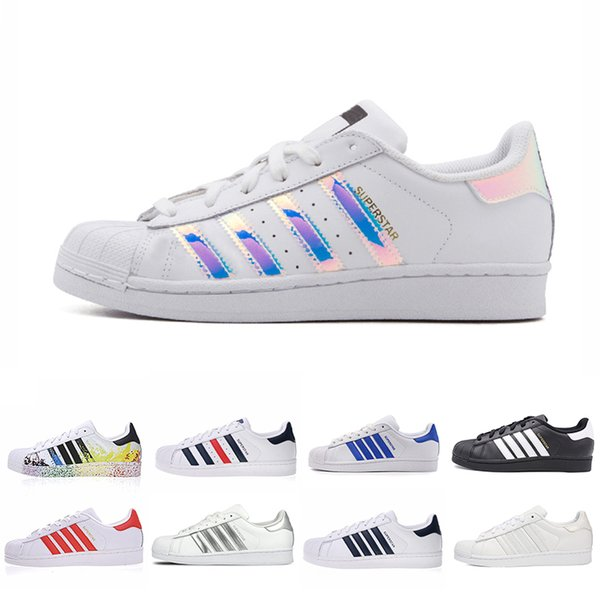 New Classic leather Superstars White Black white Pink Blue Gold Superstars 80s Pride Sneakers Super Stars Women Men Sport Casual Shoes 36-44