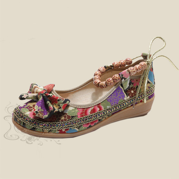 Designer Dress Shoes Women Vintage Ethnic Flower Embroidery Autumn Female String Bead Bowtie Casual Slip On Ladies Fashion Wedges