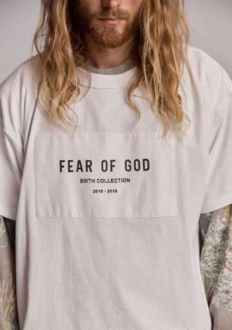 High Street Medo de Deus camisa dos homens t Temporada 6 Branco Peito Remendo Grande Logotipo Limitado Manga Curta FOG mulheres tshirts moda Confortável tee