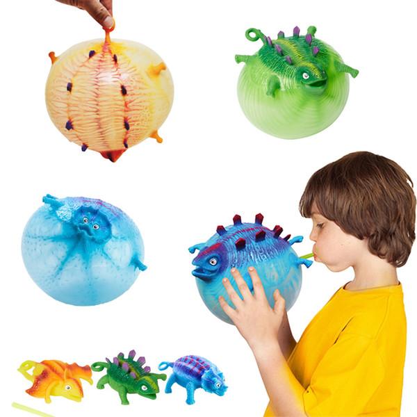 Dinosaurio alta calidad Bobo globo Vent juguete Anti Stress Novedad de la pelota antiestrés exprimiendo inflables ejercicio Juguetes para niños en Stock