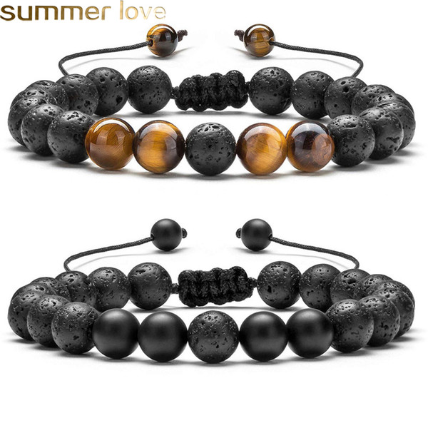 top popular Adjustable Volcanic Lava Stone Bead Bracelet Yoga Lava Essential Oil Diffuser Bead Braided Bracelets Bangle Healing Balance For Men Women 2021