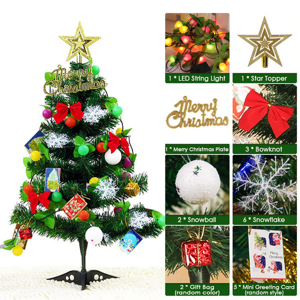 Artificial Christmas Tree With Lights.2019 Diy Tabletop Christmas Ornaments Artificial Christmas Tree With Led Light Strip Star Topper Gift Bags Party Decorative Christmas Baubles Online