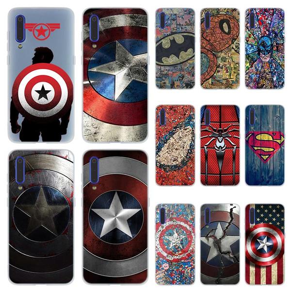 Mode souple TPU Téléphone couverture de cas pour Xiaomi Coque redmi 4X 4A 6A 7a Y3 K20 5 Plus Note 8 7 6 5 Pro comic Marvel Captain America