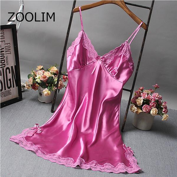 ZOOLIM женщины ночные рубашки спальные рубашки сексуальные кружева спагетти ремень Шелковая ночная рубашка плюс размер M-2XL пижамы ночные рубашки