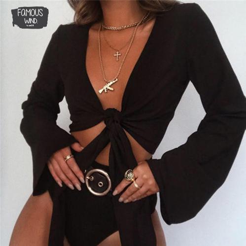 Qualität Hohe beiläufige Art und Weise Frauen-Behälter Bluse Flare Long Sleeve Crop Tops Riegel-Front Shirt Größe S-L