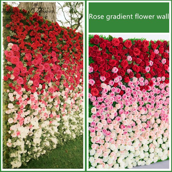 Advanced customized silk flower DIY wedding props stage live photo background window Christmas decor floral wall 1m*1m