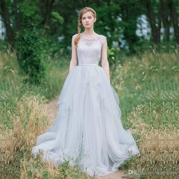 Wedding Dresses Boat Beaded Neck Plus Size Bohemian Wedding Dresses Tassel Tiered Tulle Cheap Long Summer Berta Bridal gown