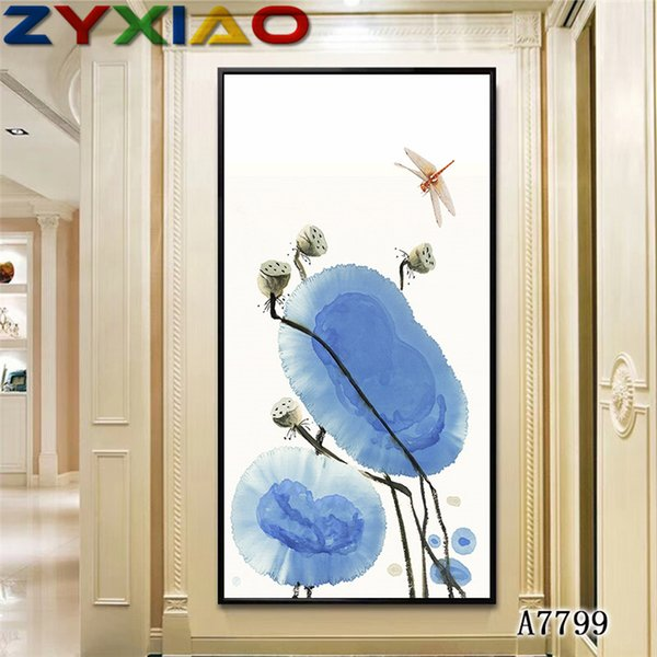 ZYXIAO Big Size Oil Painting Art flower Lotus Dragonfly Home Decor on Canvas Modern Wall Art No Frame Print Poster picture A7799