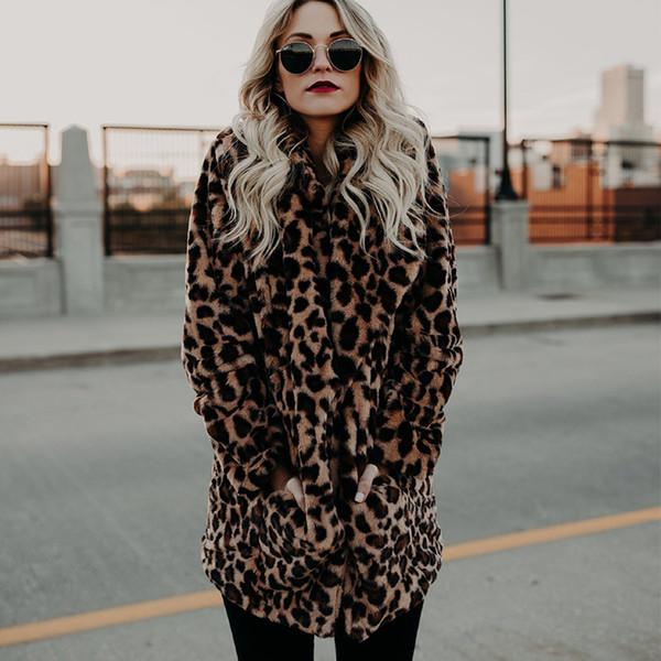 Женщины зима толстые пальто из искусственного меха куртки женские леопардовым принтом теплые пиджаки для дам 2018 модные длинные искусственные меховые пальто