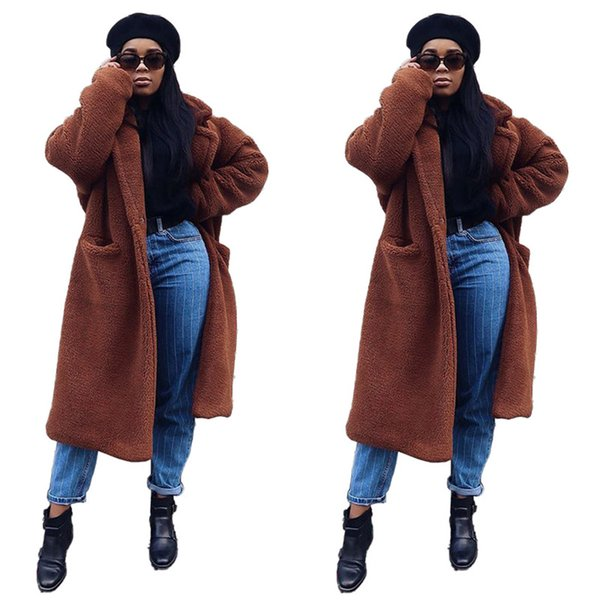 solid color women winter coats plush elegant loose long sleeved lapel neck x-long thick coats fashion women coats