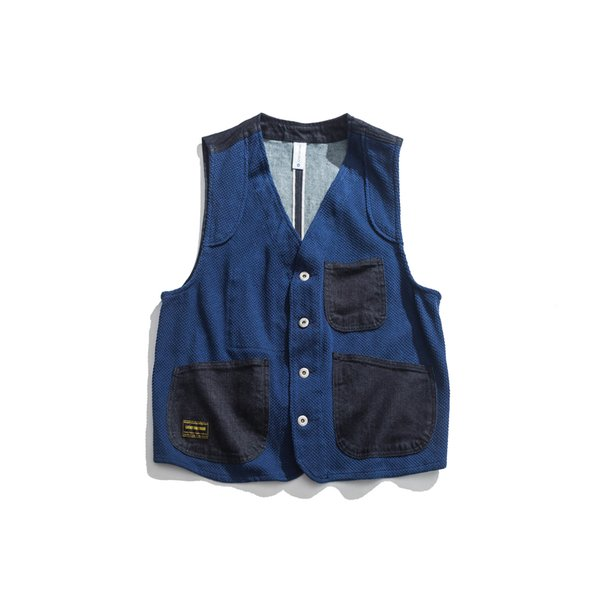 Japanese Vintage Mens Denim Vest Blue Multi-pockets Amekaji Waistcoat Casual Cargo Vests Male Jean Sleeveless Jackets free shipping