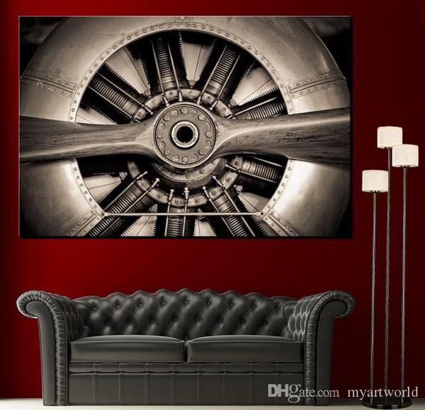 Высокое Качество HD Печати Wall Art Пропеллер Самолет Двигатель Холст Картина Черно-Белые Отпечатки Современный Дом Fine Wall Art Decor, Multi Размеры Pr140