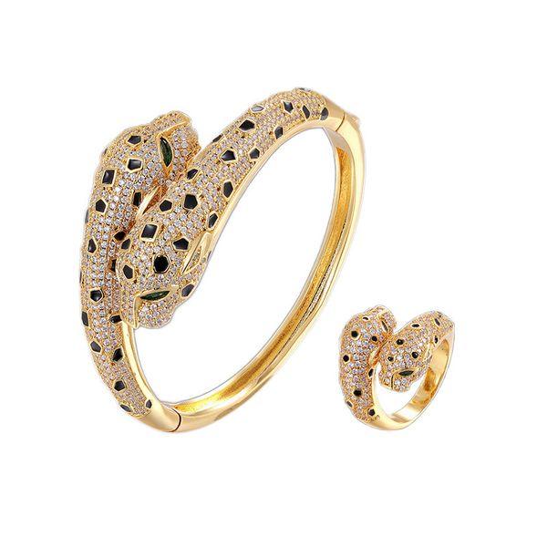 Ouro amarelo / 1 conjuntos (pulseira + anel)
