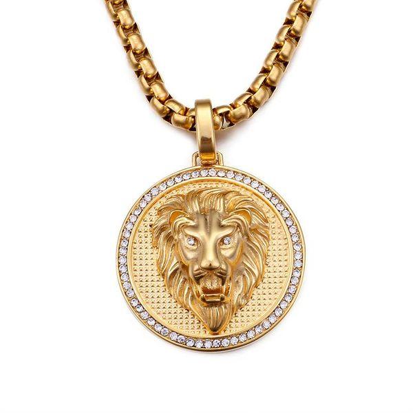Hip-Hop Anhänger Außenhandel Halskette NEUE Löwenkopf Halskette Mode Persönlichkeit Trend Edelstahl Anhänger Halskette
