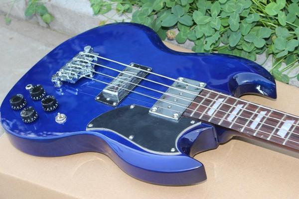 Пользовательский двойной Вырез 4 Strings Синего SG Electric Bass Guitar Chrome Оборудование Triangle MOP Trapeziod гриф Инкрустация Удивительный Китай Гитара
