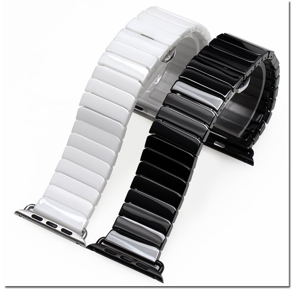 High quality ceramic strap Watchband Original Link Bracelet Strap + Connector Adapter For Apple Watch Iwatch 38mm 42mm