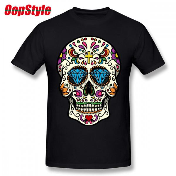 Футболка с изображением мексиканского сахарного черепа для мужчин плюс размер хлопковой футболки 4XL 5XL 6XL Camiseta