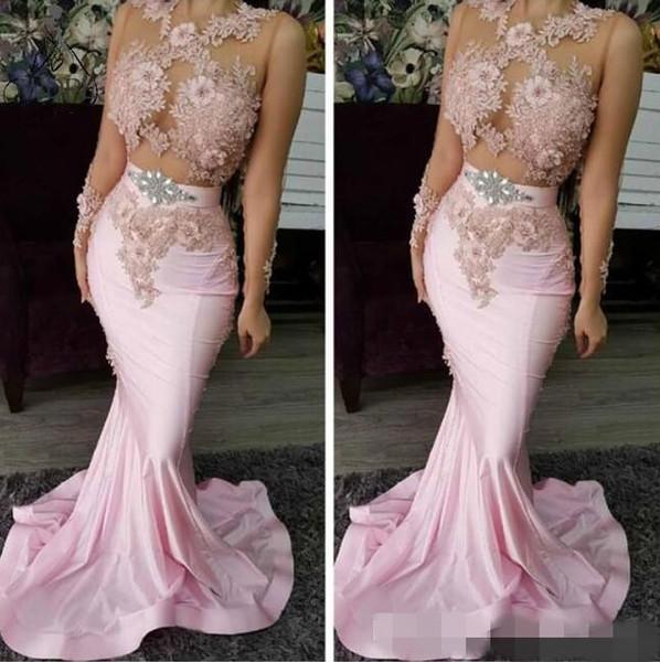 2020 más nuevos vestidos de fiesta de dos piezas de color rosa con apliques de encaje con cuentas tren de barrido de cristal por encargo sin mangas vestidos de noche formales por encargo