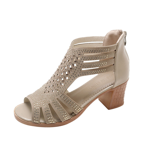 8790ffbac0 Women Crystal Sandals Summer Leather Heels Open Toe Women's Sandals Low  Block Heel Woman Shoes Sexy Back Strappy