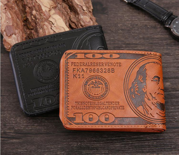 New Men US Dollar  Wallet  PU Leather  Credit Card Photo Holder