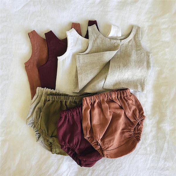Sommer INS Kleinkind Baby Girsl Anzüge 2 stück Set Ärmellose Gürtel Tees Vordere Taste Tops + Bloomers Süßigkeiten Kinder Mädchen Kleidung Anzüge 0-2 T