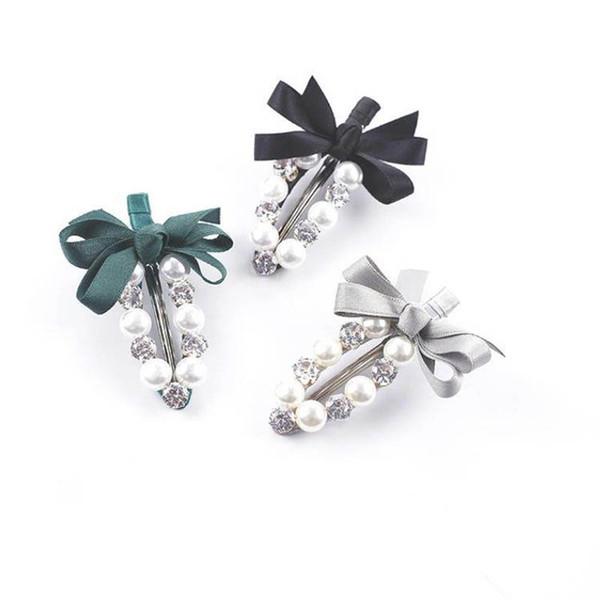 Korean handwork girls hair clips pearl designer hair clips women BB clips rhinestone designer hair accessories for women hairclips A6634