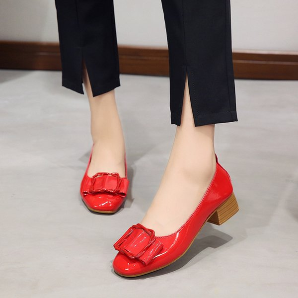 Shoes 2019 Autumn New Korean Version of The Retro Wild Student Casual Square Head Thick with Shallow Mouth Net Red