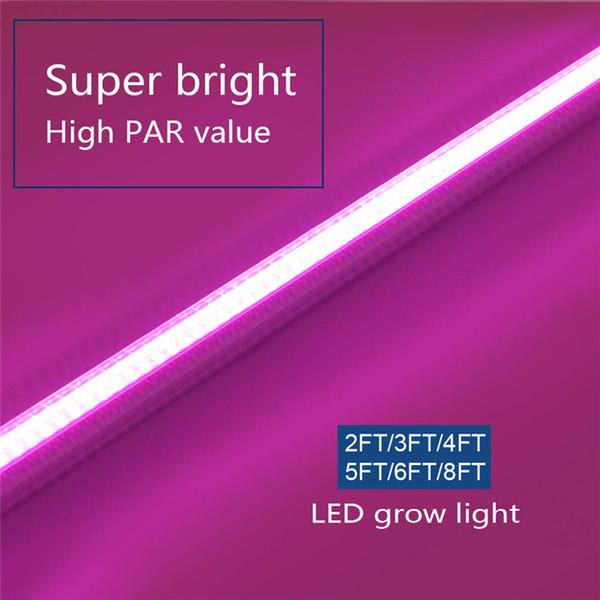 Светодиод T8 растет на свету, светоотражающая полоса для растений с высокой выходной мощностью, полная замена солнечного света на спектр с высоким PAR для комнатных растений, 2–8 футовые светодиодные трубки