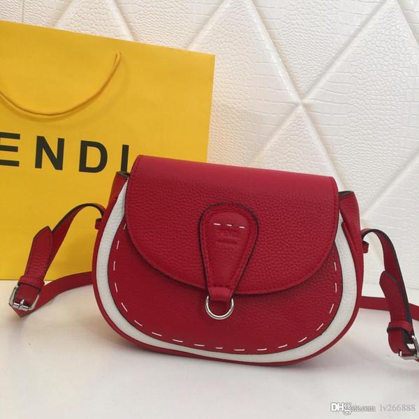 New small and stylish saddle bag ladies shoulder Messenger bag leather designer bag camel black red and white number: 5522.