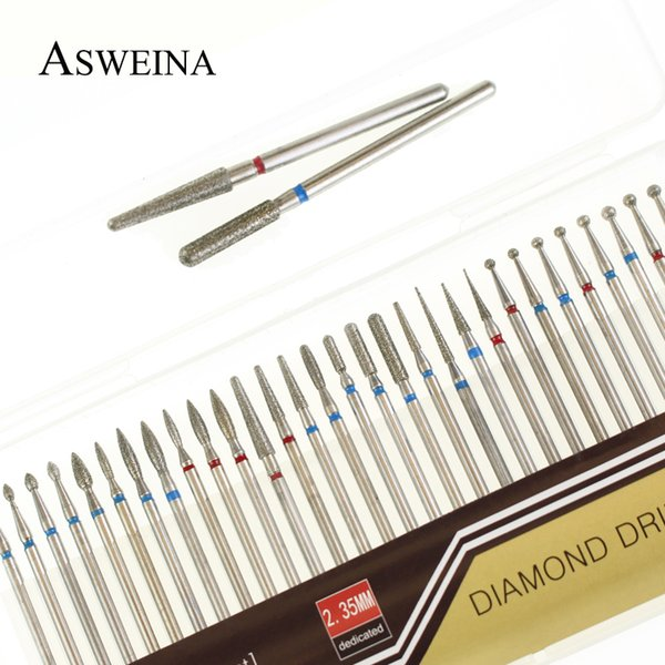ASWEINA 30pc Diamond Nail Drill Bit Set Rettifica per accessori per macchine da manicure elettrico Nail Art Clean Burr Tools Kit