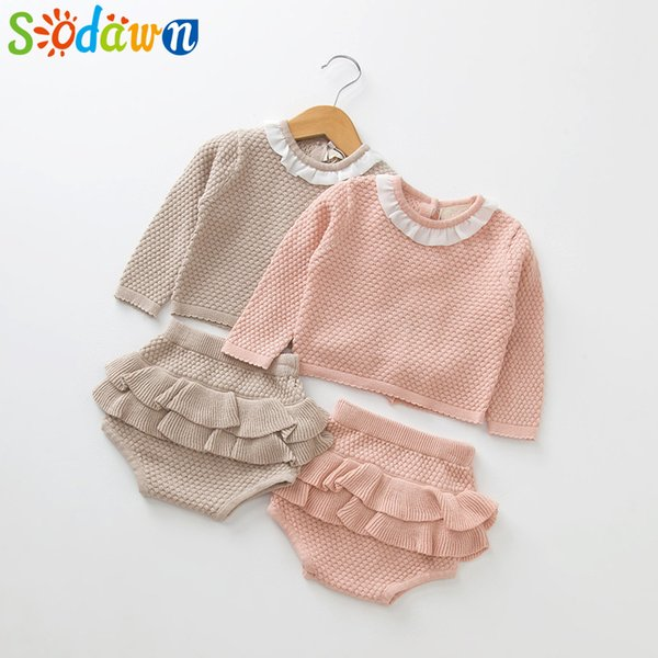 Sodawn 2019 New Spring Autumn Fashion Girls Clothes Long Sleeve Sweater+shorts Sets Of Children Baby Clohting Knit Set J190521