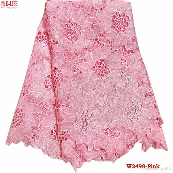2019 Baby Pink Water Soluble Cord Lace High Quality Guipure Lace Fabric Best Selling Tulle Guipure For Wedding African Lace Dress W2 498 From
