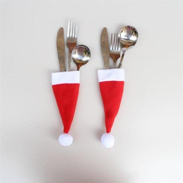 2019 Venta caliente Papá Noel Navidad Mini Sombrero Cena Interior Tenedores de Cuchara Decoraciones Adornos de Navidad Suministro de Artesanía Fiesta de Navidad Favor