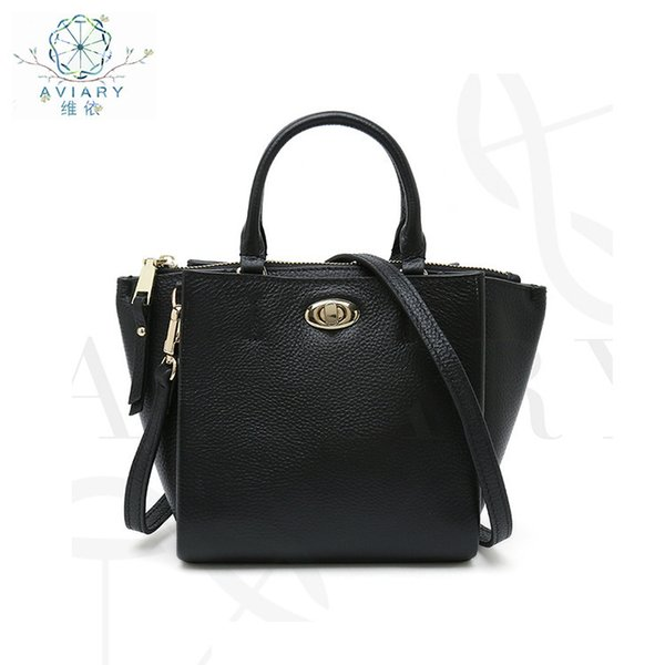 Belle2019 Wing Black Hand Bill Of Lading Shoulder Span Bag Genuine Leather Woman Package