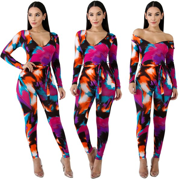 Colorful Geometric Print Halter Backless v-neck Women Jumpsuits Women Sexy Summer Rompers Calf-length One Piece Pants Playsuits