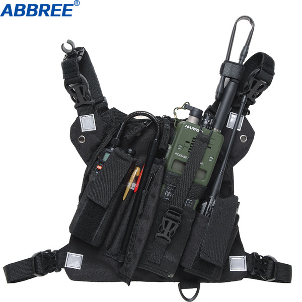 best selling Abbree Chest Harness Chest Front Pack Pouch Holster Vest Rig Carry for Two Way Radio Baofeng TYT Wouxun Motorola Walkie Talkie