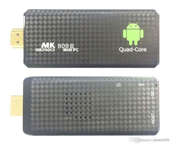 MK809 Quad Core TV Box Stick Media Player Google Android RK3229 2 GB di RAM 8 GB HDMI Smart TV Dongle 1200+ TV in diretta 1000+ VOD