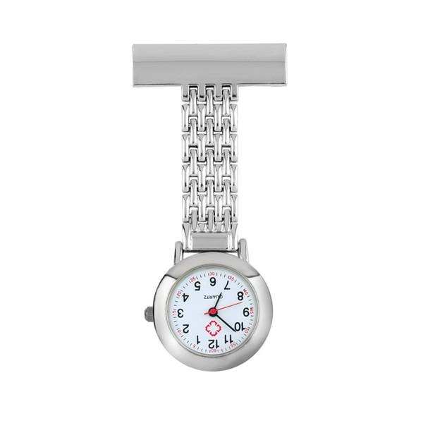 Mujer Hombre Lindo Dulce de Acero Inoxidable Números Árabes Mecánica Forma Redonda Cuarzo Broche Médico Enfermera Reloj de Bolsillo VENTA CALIENTE