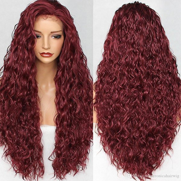 Fashion Long Kinky Curly Lace Front Wigs Burgundy Color Glueless Synthetic Lace Wigs for Women Heat Resistant Fiber Hair Full Density