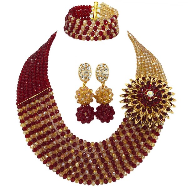 Fashionable Wine Gold AB African Beads Jewelry Set Nigerian Wedding Necklace Crystal Bridal Jewelry Sets 8JBK11