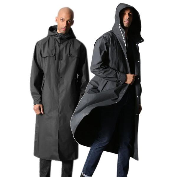 Hot Raincoat Black Outside Rainwear Fashion EVA Women Men Raincoat Waterproof Rain Coat Portable Travel Rainwear Poncho with Hat #319470