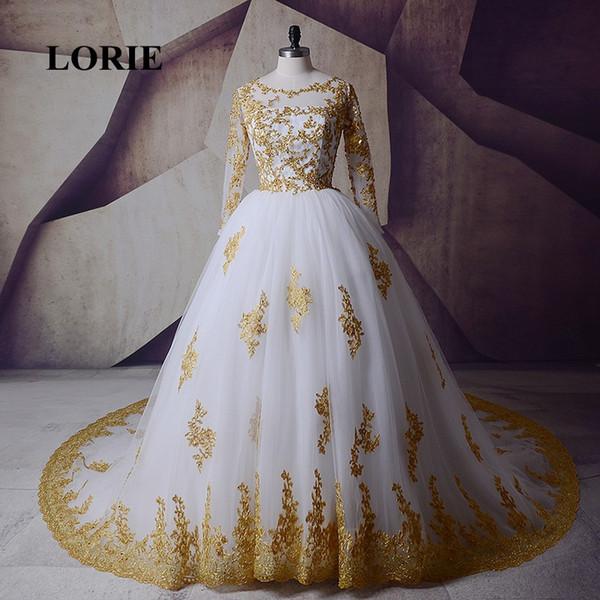 Fait sur mesure de mariage, de mariage en or blanc à manches longues Robes 2019 musulmane arabe robe de mariée en dentelle Tulle O-cou luxe robe de mariage