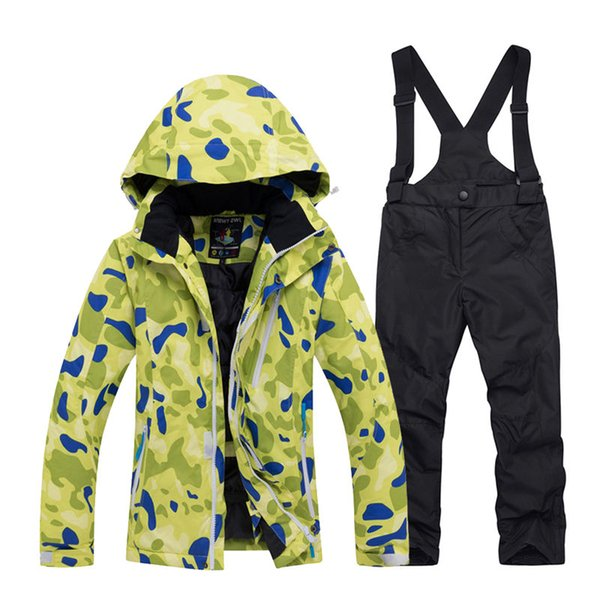 Cheap Boy and Girl Snow Suit Snowboarding Sets windproof Wear Winter Clothing Kids Ski Jacket + strap pant Children's Costume