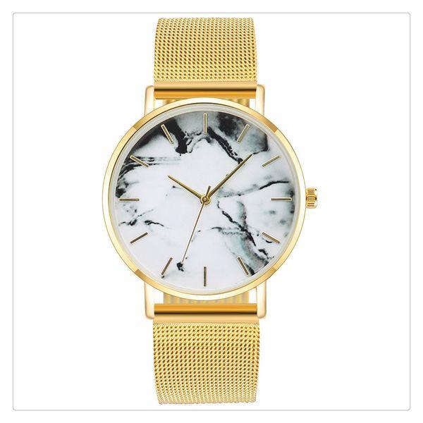 New Marble Texture Design Watch Women Ladies Casual Popular Stainless Steel Band Strap Quartz Analog Wrist Watch Gift
