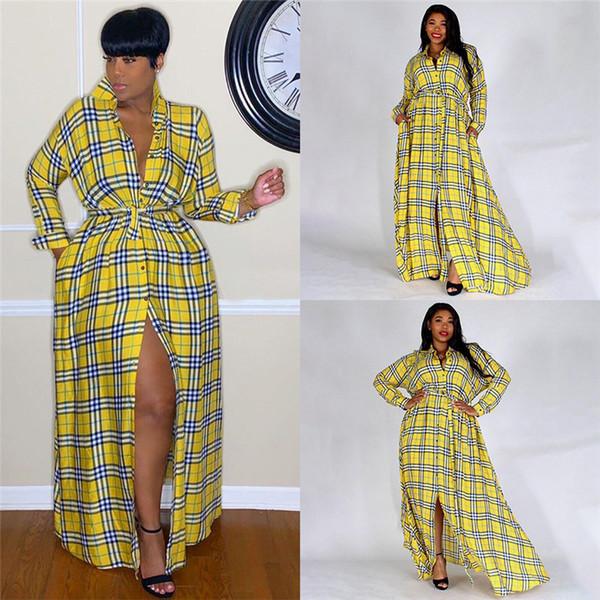 Lapela pescoço Womens Maxi Moda Vestidos Vintage Long Sleeve Sashes manta amarela Vestido Moda Casual Mulheres Vestuário