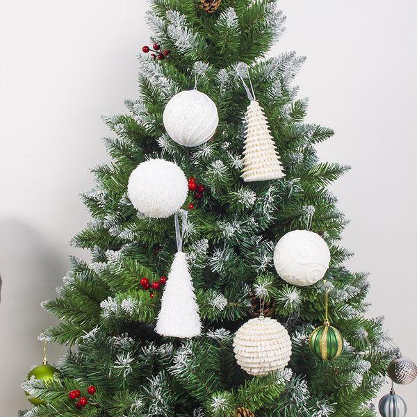 2019 Christmas Tree Foam Plush Ball Pendant White Snow Foam Ball New Year  Kids Gift 2020 Noel Decorations For Home Natal Navidad Christmas Led