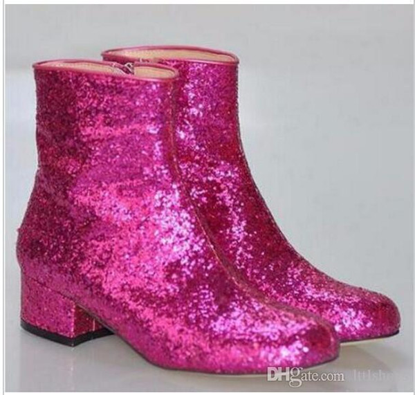 2018 Hot Sale T-stage Women Glitter Ankle Boots Square Heels Sparkly Booties Spring and Fall Feminino Botas Red Silver Gold Shoes Woman
